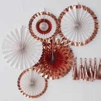 Waaier decoraties rosé goud setje 5st