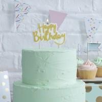 Verjaardagskaarsje 'Happy Birthday' goud