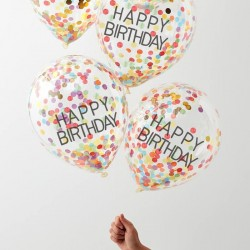 Confetti ballonnen mix 'Happy Birthday' 5st