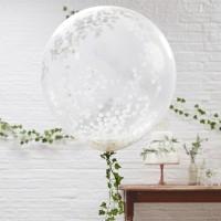 Witte grote confetti ballonnen 3st 90cm
