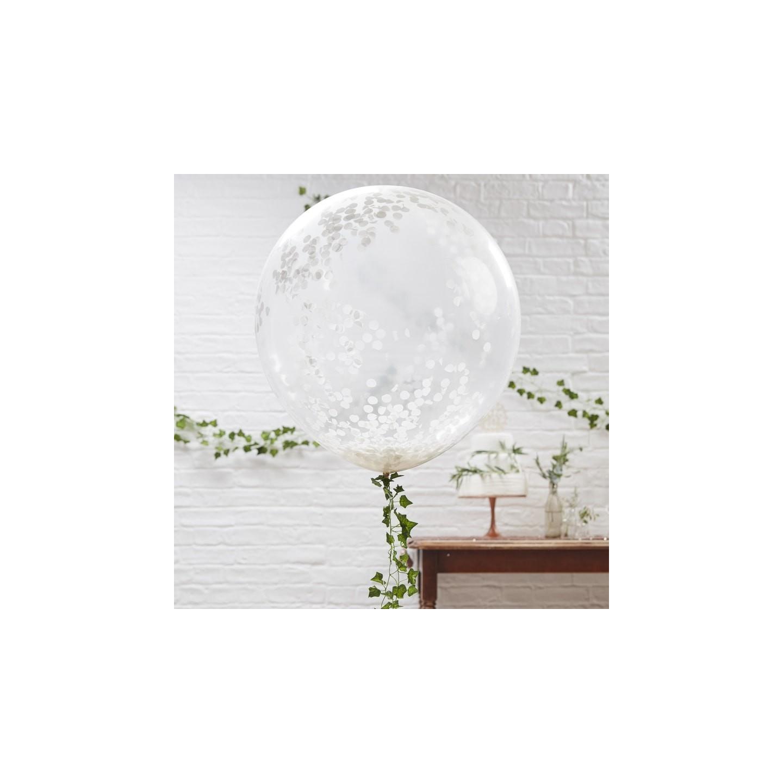 Witte grote confetti ballonnen 90 cm