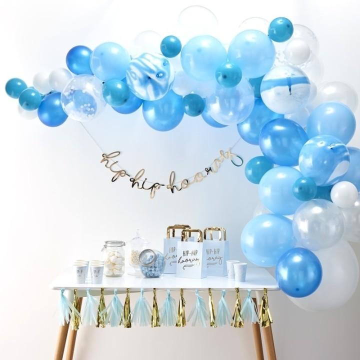 Blauwe ballonnenboog DIY-pakket 70-delig