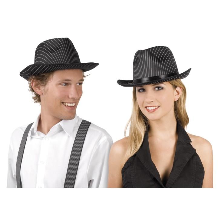 Gangster hoed zwart met krijtstreep
