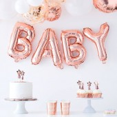 "Folieballon ""Baby"" roségoud geboorte baby shower decoratie"
