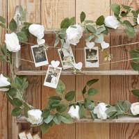 Decoratieve witte rozen slinger 2m
