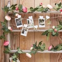 Decoratieve roze rozen slinger 2m