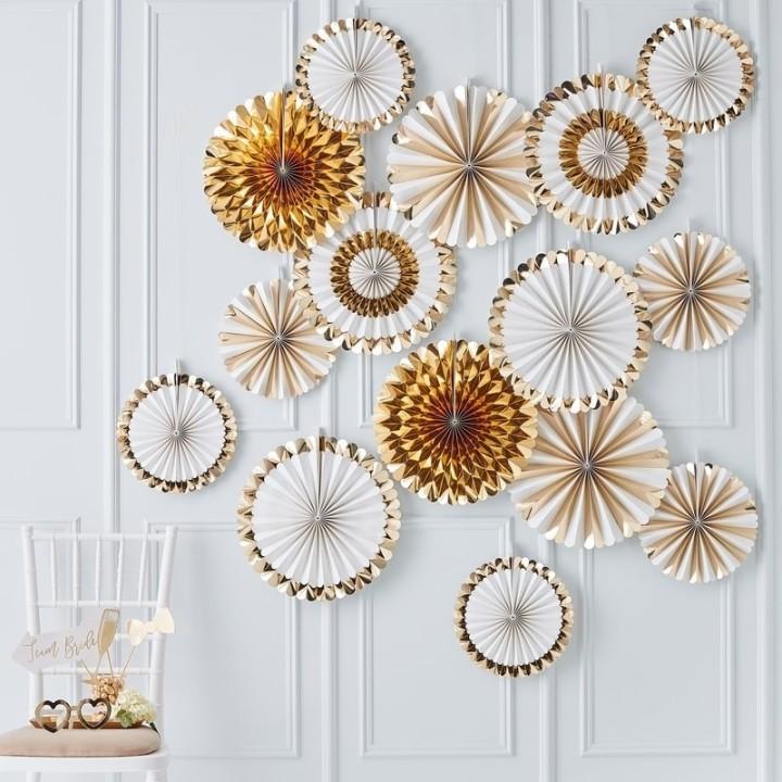 Waaier decoraties goudfolie-wit set 15st
