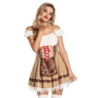 Sexy Tiroler jurkje beige/wit Alpenmeisje
