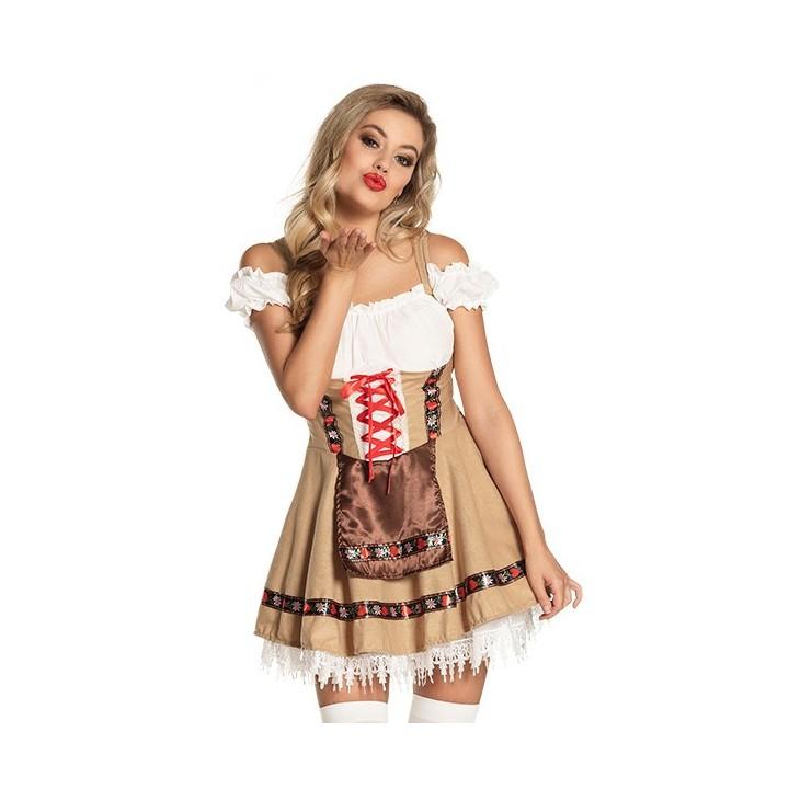 Sexy Tiroler jurkje beige/wit + petticoat