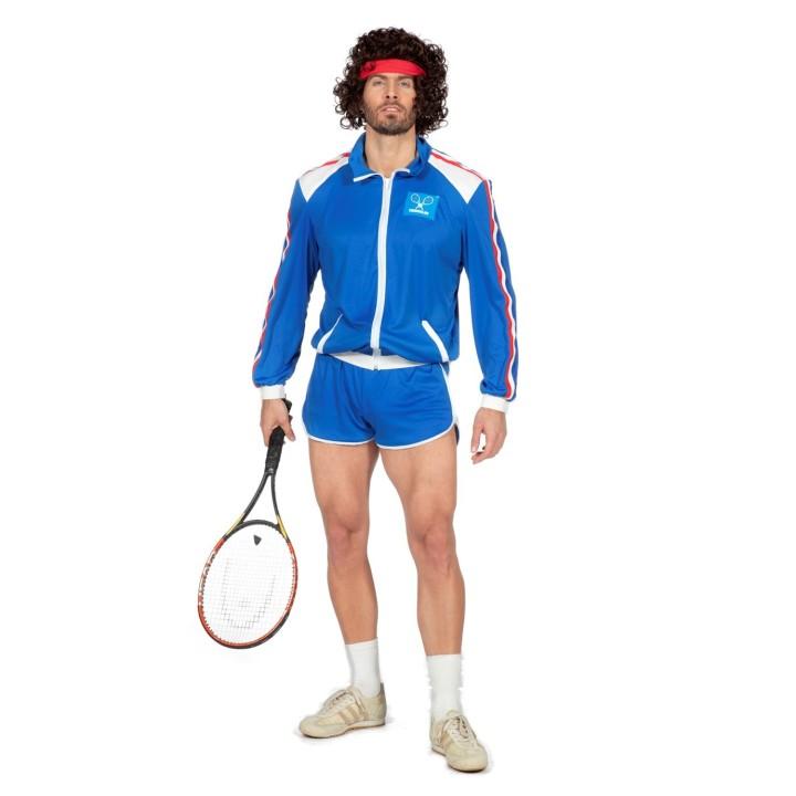Jaren 80 retro tennis outfit heren blauw