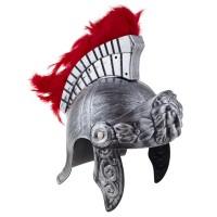 Romeinse helm met rode pluimen