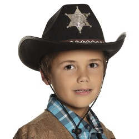 Cowboyhoed kind zwart Sheriff junior
