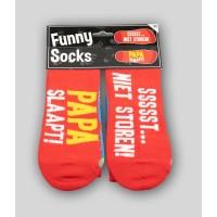 "Grappige sokken met tekst ""papa slaapt ssst"""