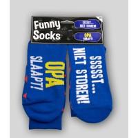 "Grappige sokken met tekst ""opa slaapt ssst"""