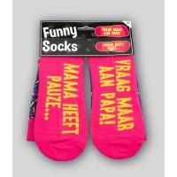 """Grappige sokken met tekst """"mama heeft pauze"""""""