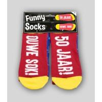 """Grappige sokken met tekst """"50 jaar"""""""