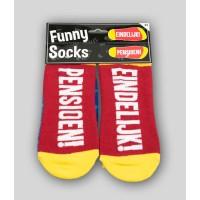 """Grappige sokken met tekst """"pensioen"""""""