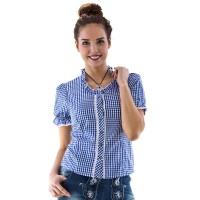 Trachten blouse dames blauw wit deluxe