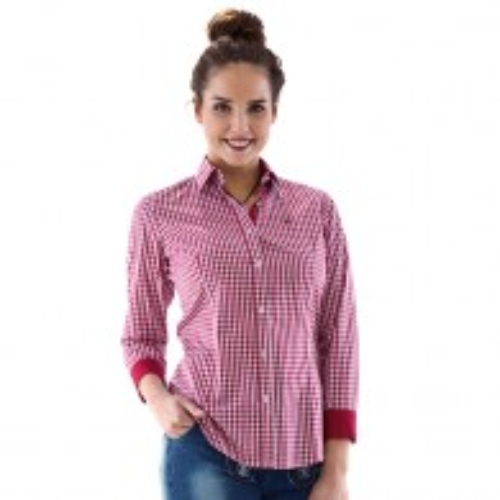 Tiroler hemd vrouwen rood wit geruit