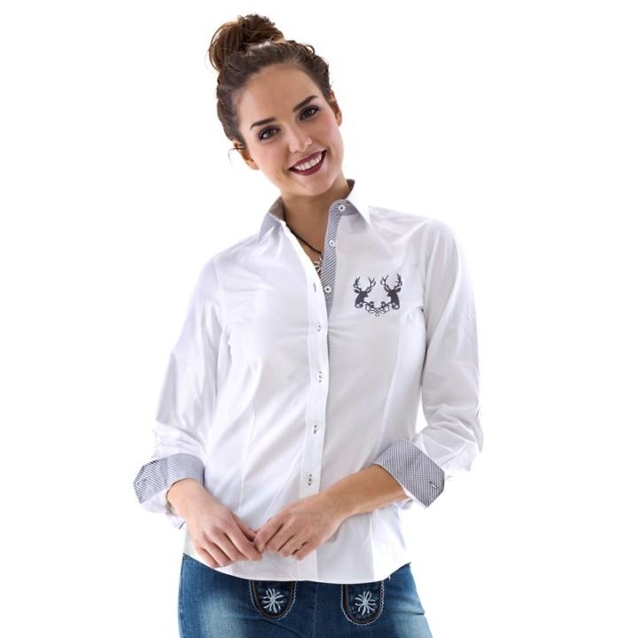 Tiroler hemd vrouwen wit met grijs