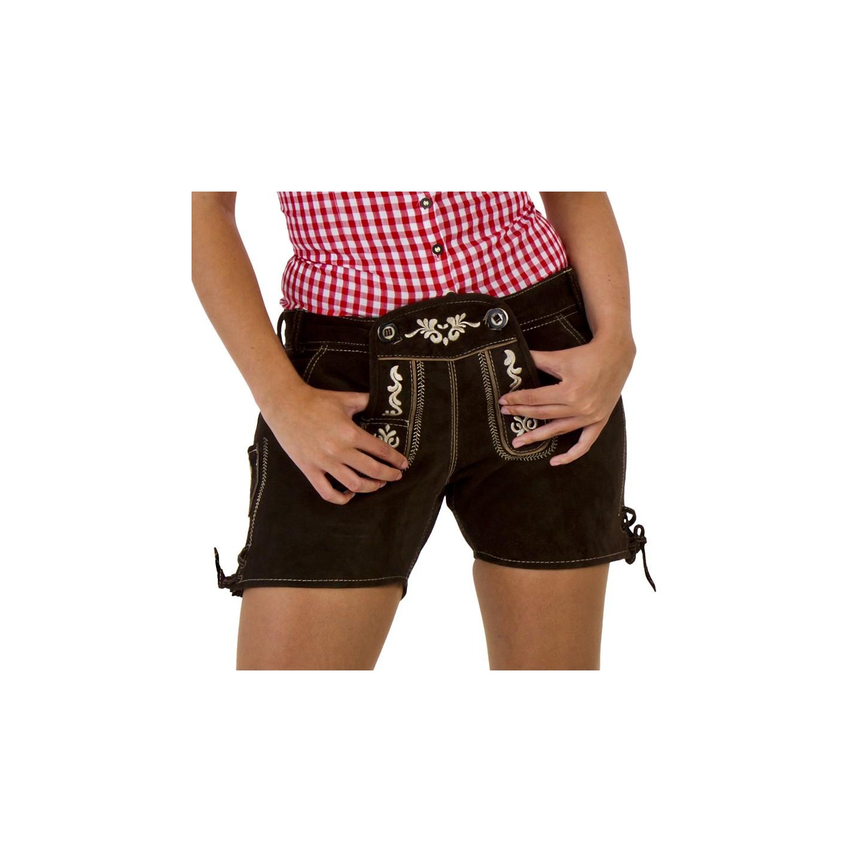Korte echte lederhose voor dames bruin