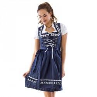 Dirndl jurk retro polka blauw grote maat