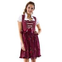 Dirndl jurk retro polka wijnrood incl. blouse