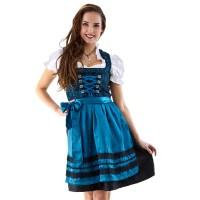 Dirndl jurk traditioneel blauw/zwart Jaquard