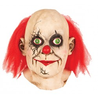 Killer clown masker gebarsten + haar