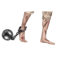 Gevangenen bal met ketting 53 cm