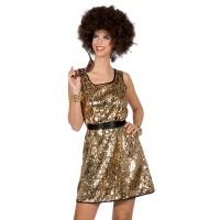 Disco jurkje goud met pailletten Disco Queen