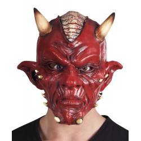 Latex duivel masker met hoorns