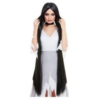 Zwarte pruik lang haar 120 cm