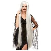 Grijze pruik lang haar 120 cm