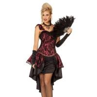 Burlesque jurk bordeaux zwart