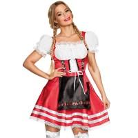 sexy tiroler jurkje rood carnaval kleedje