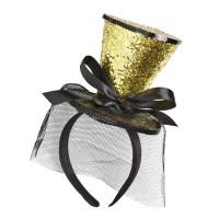 Mini hoedje burlesque goud