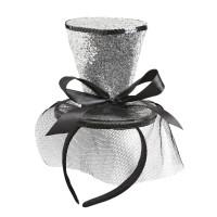 Mini hoedje burlesque zilver