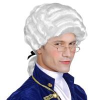 Mozart pruik met staart Colonial man wit