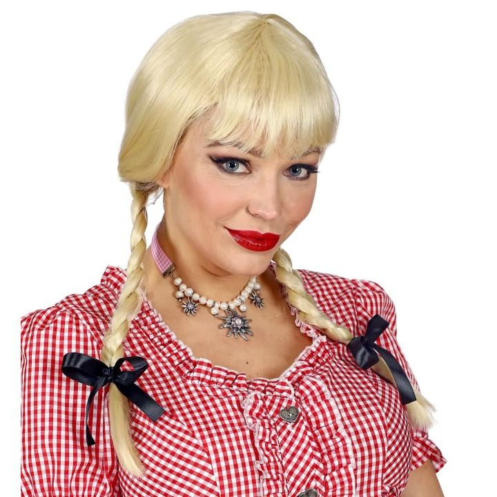 Tiroler pruik dames blond met vlechten