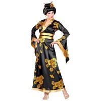 Chinese geisha kostuum kimono zwart goud