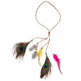 Hippie hoofdband indianen veren multicolor