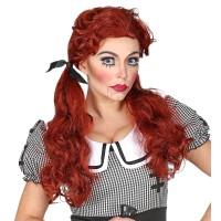 Killer doll pruik rood met staarten