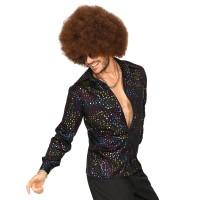 Jaren 70 Disco hemd Rainbow Black heren