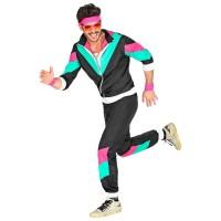 Jaren 80 retro jogging trainingspak zwart