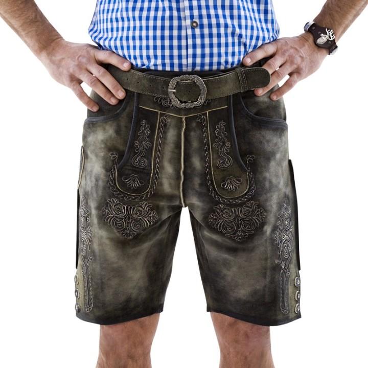 Korte lederhose heren bruin echt Geitenleer !
