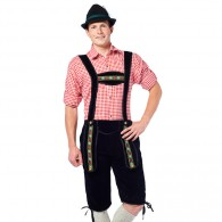 Lederhosen Johann lang Zwarte Tiroler broek