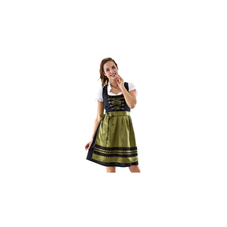 groothandel gewoonte beste selectie Dirndl jurkje zwart/olijfgroen | Jokershop.be - Tiroler kleding