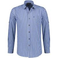 Trachtenhemd heren Tiroler shirt blauw wit