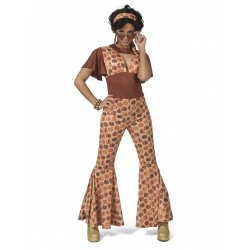 Jaren 70 hippie jumpsuit fruit dames